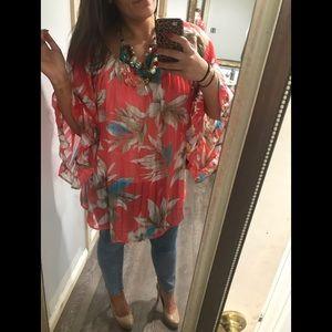 Pinkblush Tropical Print Tunic Top - NWOT
